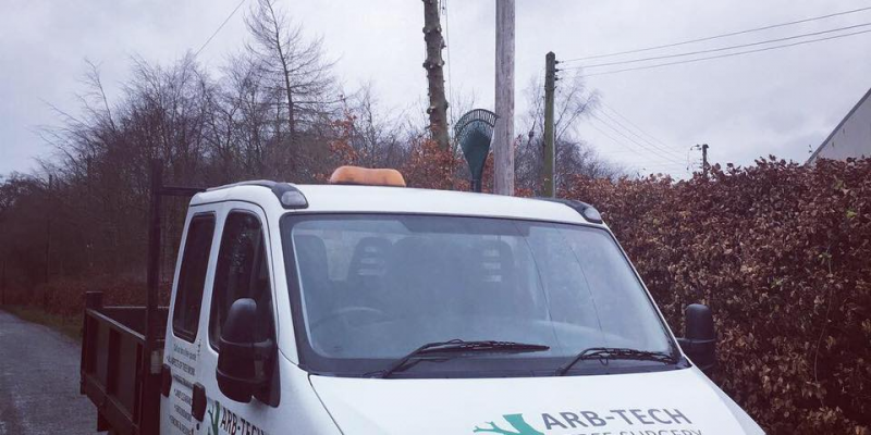 Arb-tech tree surgery van and tree felling